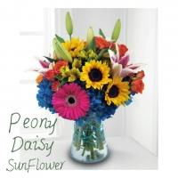 Peony, Daisy, Sunflower