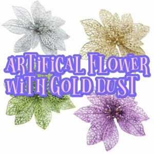 Artificial Flowers With Gold Dust
